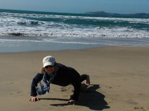 Doing push ups in Half Moon Bay, CA